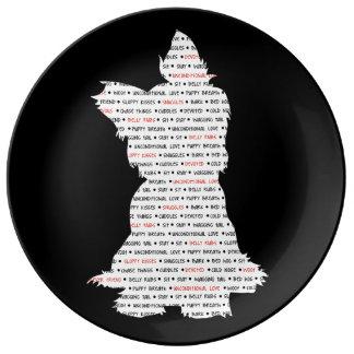 Yorkie/arte de la palabra de Yorkshire Terrier Platos De Cerámica
