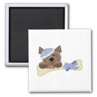 Yorkie BabyPuppy 2 Inch Square Magnet