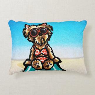 Yorkie Beach Babe Decorative Pillow