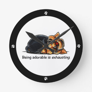 Yorkie Being Adorable Off-Leash Art™ Round Clock