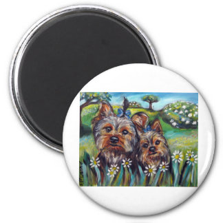 Yorkie best buds Lucy and Milly 2 Inch Round Magnet