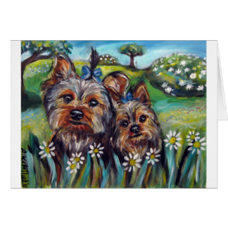 Yorkie best buds Lucy and Milly Card