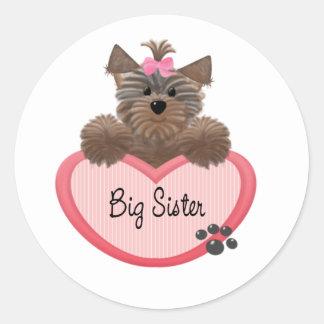 Yorkie Big Sister Classic Round Sticker