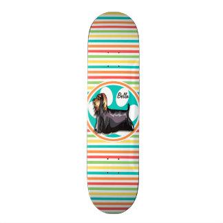 Yorkie; Bright Rainbow Stripes Skateboard Deck