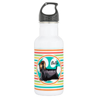 Yorkie; Bright Rainbow Stripes Stainless Steel Water Bottle