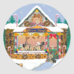 Yorkie Christmas Gingerbread House Sticker