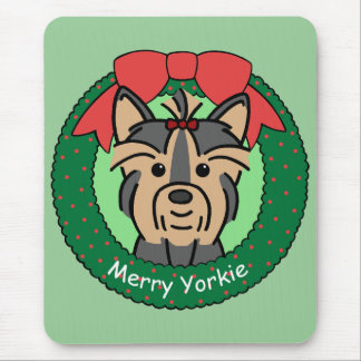 Yorkie Christmas Mouse Pad