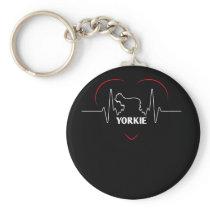 Yorkie Design Yorkie Silhouette Heartbeat Keychain