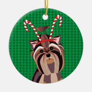Yorkie Dog Christmas Ornament