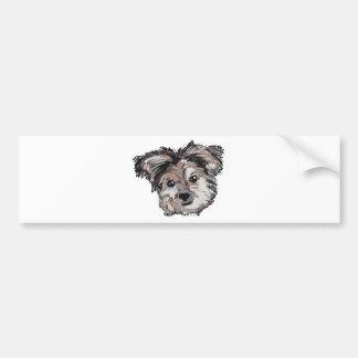 Yorkie Dog Pup Face Sketch Bumper Sticker