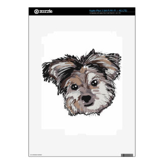 Yorkie Dog Pup Face Sketch Decal For iPad 3