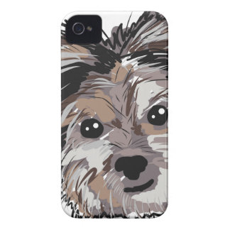 Yorkie Dog Pup Face Sketch iPhone 4 Case