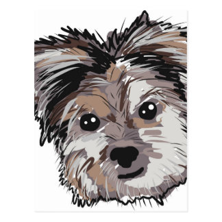 Yorkie Dog Pup Face Sketch Postcard