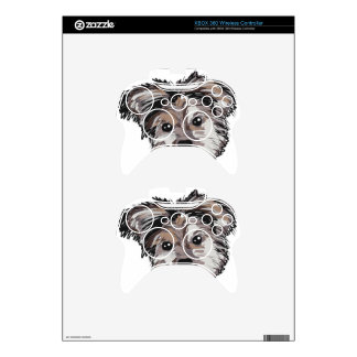 Yorkie Dog Pup Face Sketch Xbox 360 Controller Skins