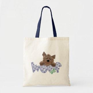 Yorkie Dog Woof (blue) Tote Bag