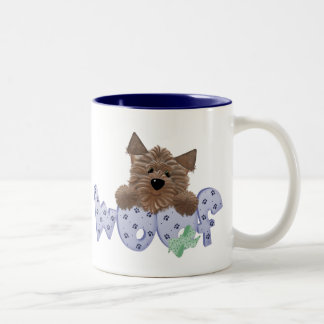 Yorkie Dog Woof (blue) Two-Tone Coffee Mug