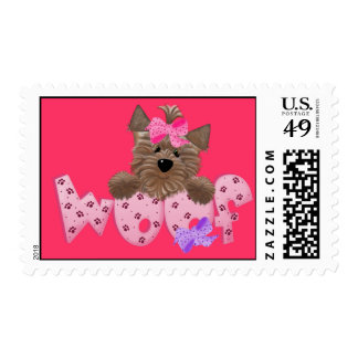 Yorkie Dog Woof Postage Stamps