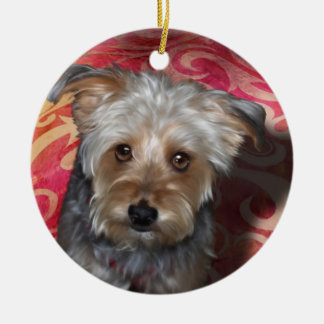 Yorkie Double-Sided Ceramic Round Christmas Ornament