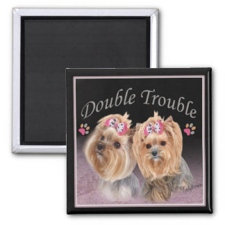 Yorkie Double Trouble magnets