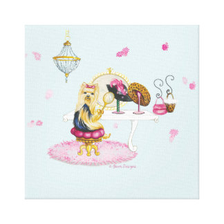 Yorkie Dress Up Boudoir Painting Canvas Print