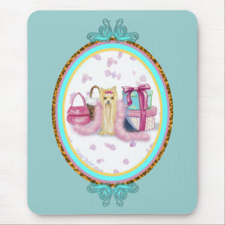 Yorkie Dress Up Fancy Oval Design Mouse Pad