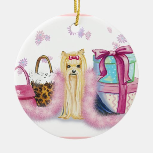 Yorkie Dress Up Double-Sided Ceramic Round Christmas Ornament