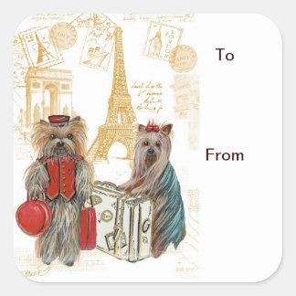 Yorkie Eiffel Tower Paris Gift Tags Square Sticker