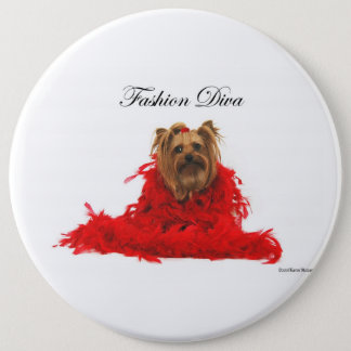 Yorkie Fashion Diva Pinback Button
