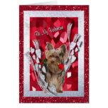 Yorkie Female Puppy Be My Valentine Card