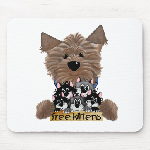 Yorkie free Kittens Mouse Pads