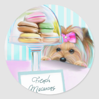 Yorkie French Macarons Classic Round Sticker