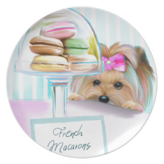 Yorkie French Macarons Party Plates