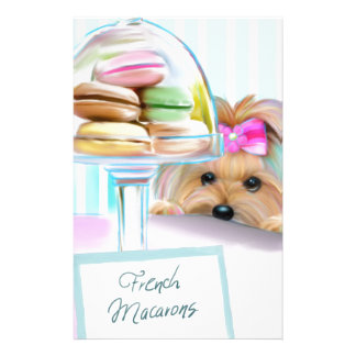 Yorkie French Macarons Stationery Paper