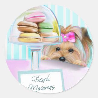 Yorkie French Macarons Classic Round Sticker