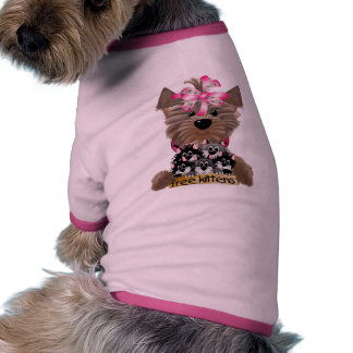 Yorkie-girl free kittens dog tee shirt