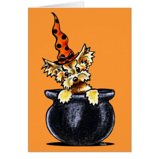 Yorkie Halloween Good Witch Off-Leash Art™ Card