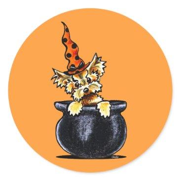 Halloween Themed Yorkie Halloween Good Witch Off-Leash Art™ Classic Round Sticker