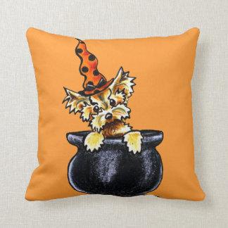 Yorkie Halloween Good Witch Off-Leash Art™ Throw Pillow