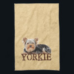 """Yorkie Hand Towel<br><div class=""""desc"""">Adorable dog picture for all who just love these small,  lively dogs! A cute Yorkshire terrier resting on top of the text &quot;Yorkie&quot; a design for Yorkie owners and lovers. The perfect gift for any doglover!</div>"""