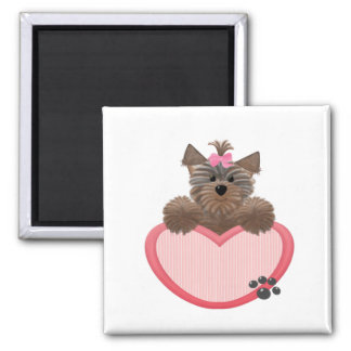 Yorkie-heart 2 Inch Square Magnet