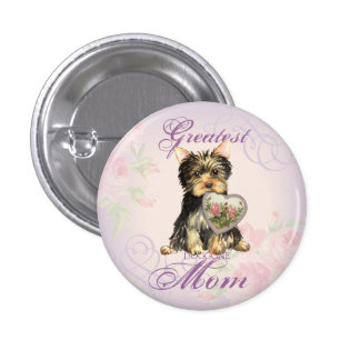Yorkie Heart Mom Pinback Button