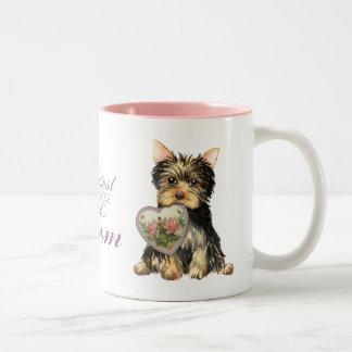 Yorkie Heart Mom Two-Tone Coffee Mug