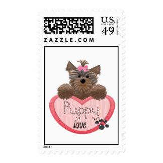 Yorkie-heart Puppy love Postage Stamp