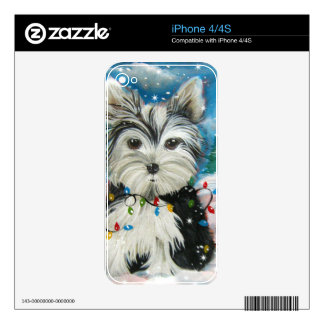 Yorkie Holiday Design iPhone 4S Skins