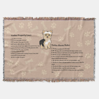 Yorkie House Rules Throw Blanket