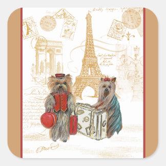 Yorkie in Paris & Eiffel Tower Stickers