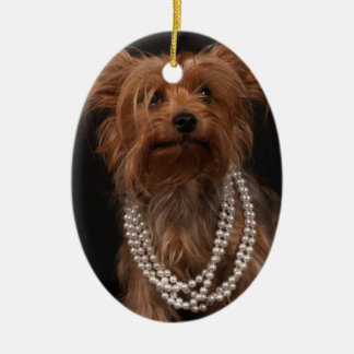 Yorkie in Pearl Necklace Ceramic Ornament