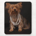 Yorkie in Pearl Necklace Mouse Pads