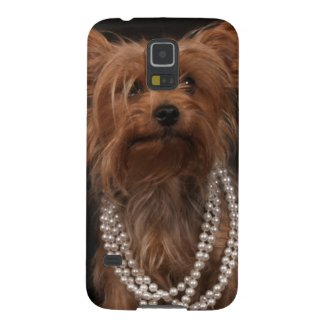 Yorkie in Pearl Necklace Galaxy Case