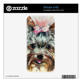 Yorkie in Pink iPhone 4S Skins